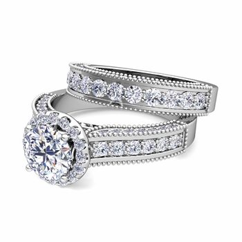 Bridal Set of Heirloom Diamond Engagement Wedding Ring in Platinum
