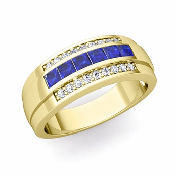Princess Cut Sapphire and Diamond Mens Wedding Band in 18k Gold, 8mm