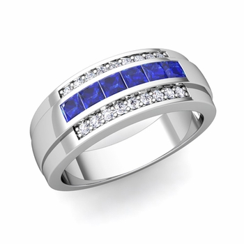 Princess Cut Sapphire and Diamond Mens Wedding Band in Platinum, 8mm