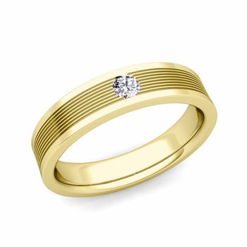 Solitaire Diamond Mens Wedding Band in 18k Gold Comfort Fit Ring, 5mm