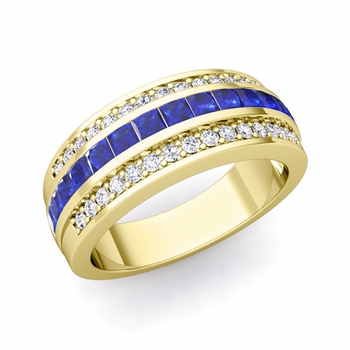Princess Cut Sapphire and Pave Diamond Wedding Ring in 18k Gold, 7mm