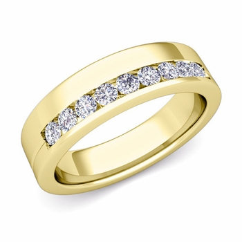 Channel Set Comfort Fit Diamond Wedding Ring in 18k Gold, 4mm