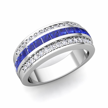 Princess Cut Sapphire and Pave Diamond Wedding Ring in Platinum, 7mm
