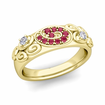 Swirl Diamond and Ruby Wedding Ring Band in 18k Gold, 5.5mm