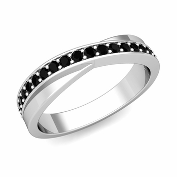 Infinity Black Diamond Wedding Ring Band in 14k Gold, 3.8mm
