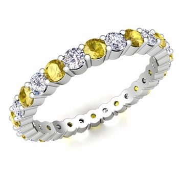Pave Diamond and Yellow Sapphire Eternity Band in Platinum
