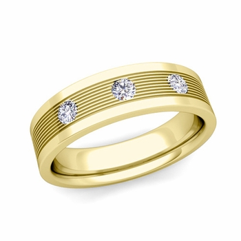 3 Stone Diamond Mens Wedding Band in 18k Gold Comfort Fit Ring, 5mm