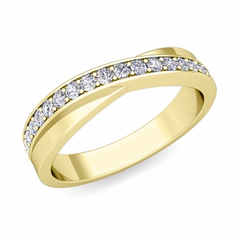 Infinity Diamond Wedding Ring Band in 18k Gold, 3.8mm