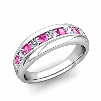 Brilliant Diamond and Pink Sapphire Wedding Ring Band in Platinum, 6mm