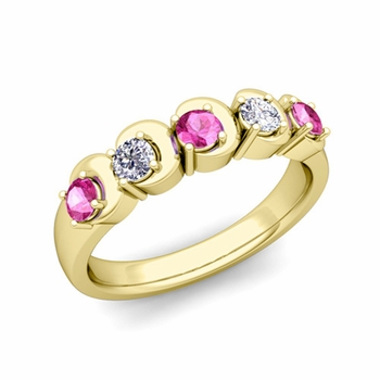 Organica 5 Stone Diamond and Pink Sapphire Ring in 18k Gold, 3.5mm