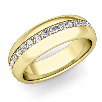 Pave Set Comfort Fit Diamond Wedding Band Ring in 18k Gold, 5.5mm
