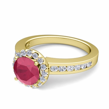 Diamond and Ruby Halo Engagement Ring in 18k Gold Channel Set Ring, 5mm