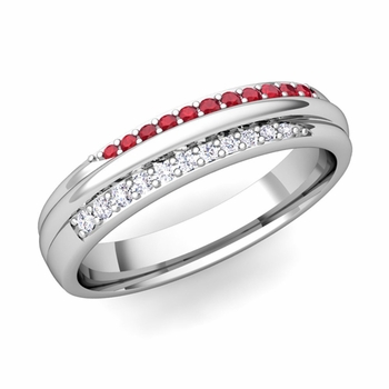 Brilliant Pave Diamond and Ruby Wedding Ring in Platinum, 3.5mm