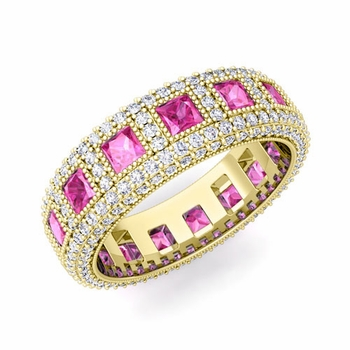 Pave Diamond and Princess Cut Pink Sapphire Eternity Band in 18k Gold, 6mm