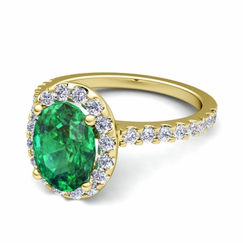 Petite Pave Set Diamond and Emerald Halo Engagement Ring in 18k Gold, 8x6mm