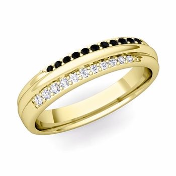 Brilliant Pave Black and White Diamond Wedding Ring in 18k Gold, 3.5mm
