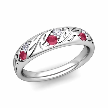 Vintage Inspired Diamond and Ruby Wedding Ring in Platinum 3.8mm