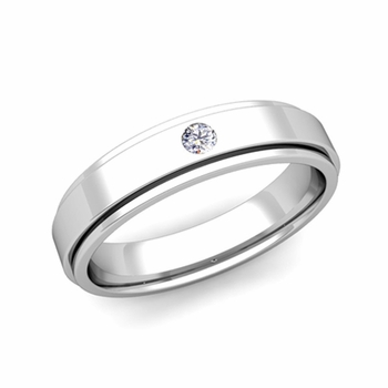 Solitaire Diamond Mens Wedding Ring in 14k Gold Comfort Fit Ring, 5mm