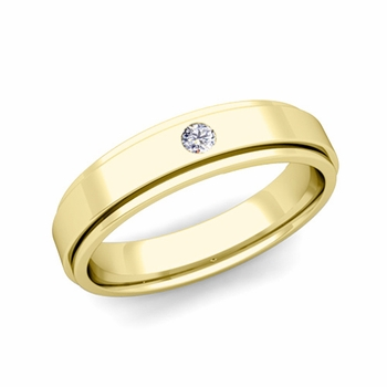 Solitaire Diamond Mens Wedding Ring in 18k Gold Comfort Fit Ring, 5mm