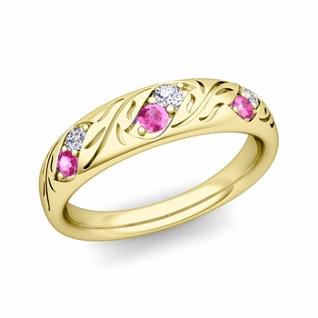 Vintage Inspired Diamond and Pink Sapphire Wedding Ring in 18k Gold 3.8mm