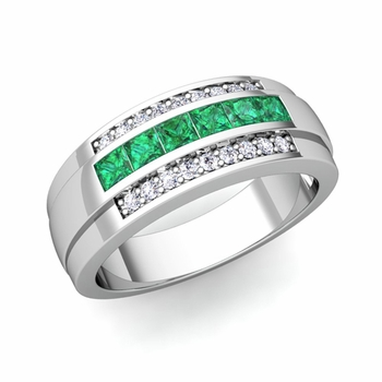 Princess Cut Emerald and Diamond Mens Wedding Band in 14k Gold, 8mm