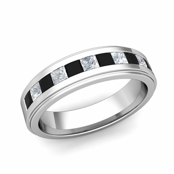 Channel Set Princess Cut Black and White Diamond Mens Wedding Band 14k Gold, 5.5mm