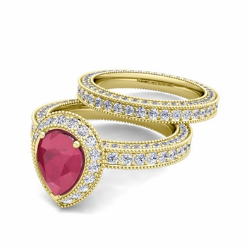 Milgrain Pear Shaped Ruby Engagement Ring Bridal Set in 18k Gold, 8x6mm