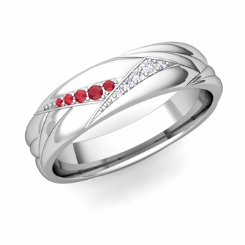 Wave Mens Wedding Band in Platinum Diamond and Ruby Ring, 5.5mm