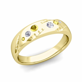 Mens Flush Set Diamond and Yellow Sapphire Wedding Band in 18k Gold, 6mm