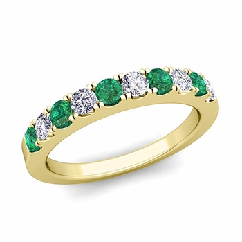 Brilliant Pave Diamond and Emerald Wedding Ring Band in 18k Gold