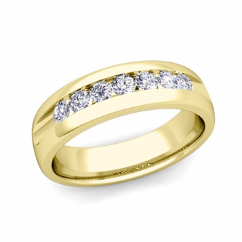 Channel Set Diamond Mens Wedding Band in 18k Gold Comfort Fit Ring, 6mm
