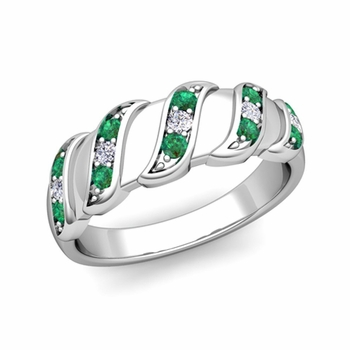 Twisted Diamond and Emerald Wedding Ring Band in Platinum, 5mm