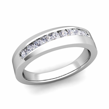 Channel Set Diamond Wedding Ring Band in 14k Gold, 4mm