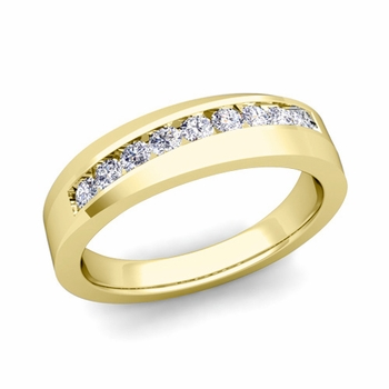 Channel Set Diamond Wedding Ring Band in 18k Gold, 4mm