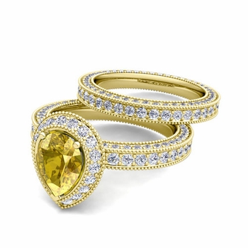 Milgrain Pear Shaped Yellow Sapphire Engagement Ring Bridal Set in 18k Gold, 8x6mm