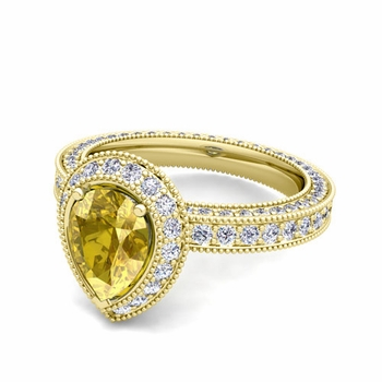 Milgrain Pear Shaped Yellow Sapphire and Diamond Engagement Ring in 18k Gold, 7x5mm