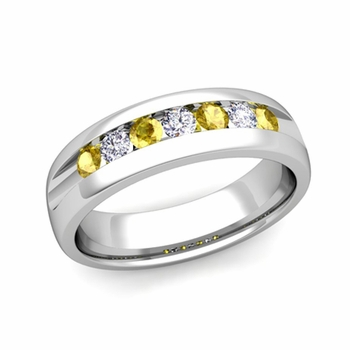 Channel Set Diamond and Yellow Sapphire Mens Wedding Band in Platinum, 6mm