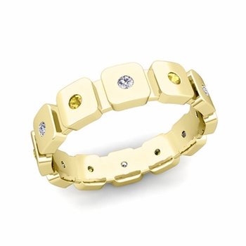 Flush Set Diamond and Yellow Sapphire Mens Wedding Band in 18k Gold Comfort Fit Ring, 5mm