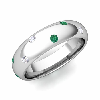 Scattered Emerald and Diamond Wedding Eternity Band in Platinum, 5mm
