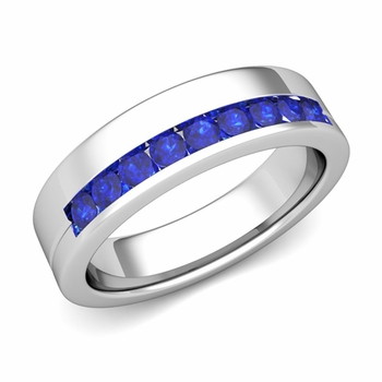 Channel Set Comfort Fit Sapphire Wedding Ring in Platinum, 4mm