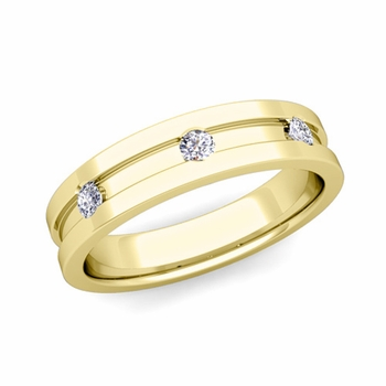 3 Stone Diamond Mens Wedding Ring in 18k Gold Comfort Fit Ring, 5mm