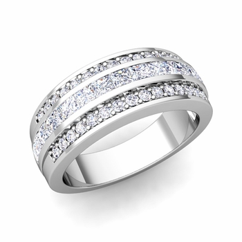 Princess Cut Diamond and Pave Diamond Wedding Ring in 14k Gold, 7mm