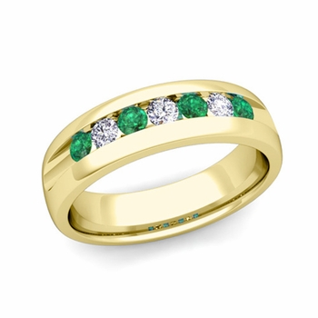 Channel Set Diamond and Emerald Mens Wedding Band in 18k Gold Comfort Fit Ring, 6mm