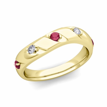 Curved Ruby and Diamond Wedding Ring Band in 18k Gold, 3.5mm