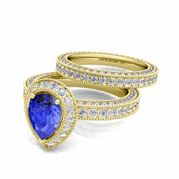 Milgrain Pear Shaped Ceylon Sapphire Engagement Ring Bridal Set in 18k Gold, 8x6mm