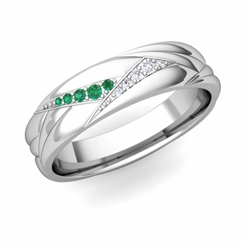 Wave Mens Wedding Band in 14k Gold Diamond and Emerald Ring, 5.5mm