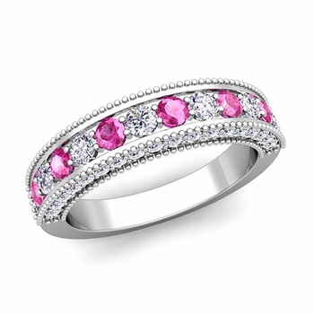 Vintage Inspired Pink Sapphire and Diamond Wedding Ring Band in 14k Gold