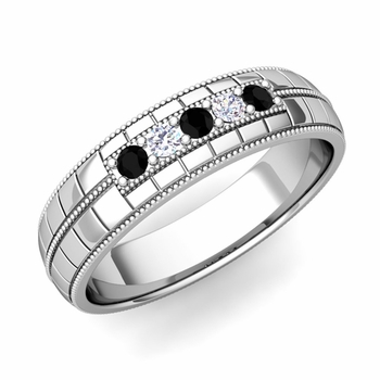 Black and White Diamond Mens Wedding Band in 14k Gold 5 Stone Ring, 5mm