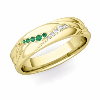 Wave Mens Wedding Band in 18k Gold Diamond and Emerald Ring, 5.5mm