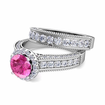 Bridal Set of Heirloom Diamond and Pink Sapphire Engagement Wedding Ring in Platinum, 7mm